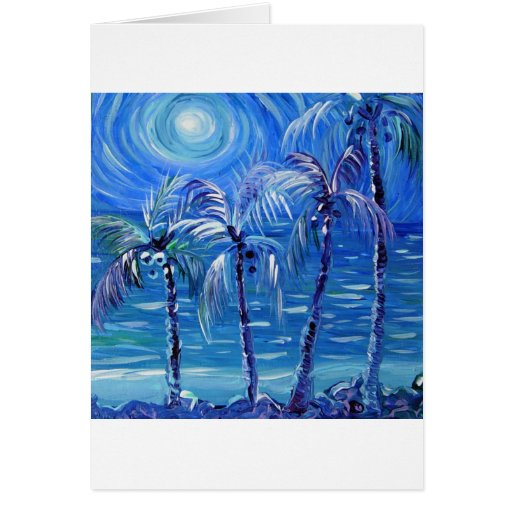 4 palmas encendidas luna tarjeta de felicitación