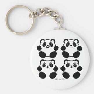 4 pandas emocionales llavero redondo tipo pin