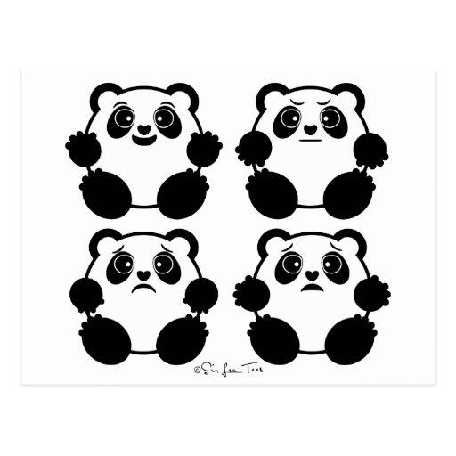 4 pandas emocionales postales