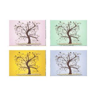 4-Panel 4-Seasons Trees Canvas Print