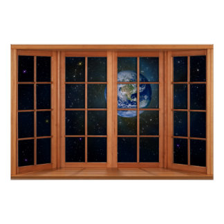 4 Paneled Wooden Window Illusion of the Earth Poster