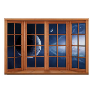 4 Paneled Wooden Window Illusion of the Universe Poster