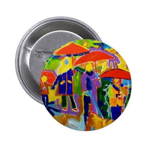 4 paraguas rojos por Piliero Pin Redondo De 2 Pulgadas
