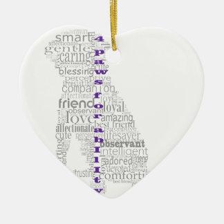 4 Paws Gray & Purple Ceramic Ornament