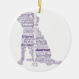 4 Paws Purple & Gray Ceramic Ornament