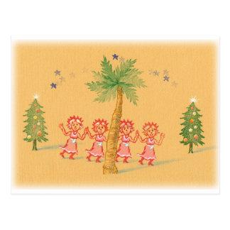 4 pequeñas criadas del navidad postal