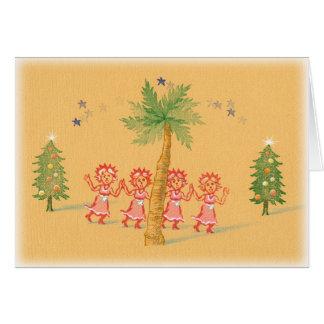 4 pequeñas criadas del navidad tarjeta de felicitación