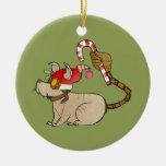 4 pequeños monstruos - logotipo del día de fiesta adorno navideño redondo de cerámica