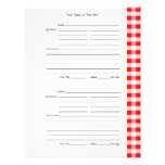 """4 per Page - Red Gingham 2-sided Recipe Pages 8.5"""" X 11"""" Flyer"""