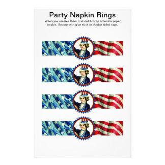 4 per sheet 4th of July Paper Napkin Rings