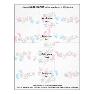 4 per sheet Bar Soap Bands Baby Shower Paper Favor Custom Flyer