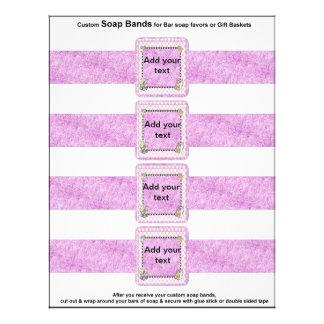4 per sheet Bar Soap Bands Baby Shower Paper Favor Full Color Flyer