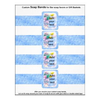 4 per sheet Bar Soap Bands Blue Paper Party Favor Flyer