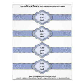 4 per sheet Soap Band Blue Ribbon Bridal favors Flyer Design