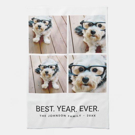 4 Photo Black White Minimalist - Best Year Ever Kitchen Towel