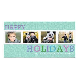 4 Photo Chic Pastel Christmas Photo Card