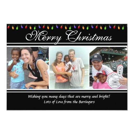 4 Photo Christmas Lights Christmas Card