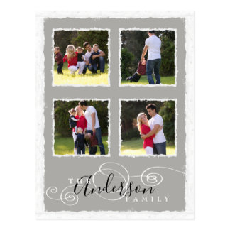 4 Photo Collage Add Family Name Gray Postcard