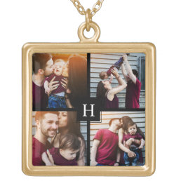 4-Photo Collage and Monogram Gold Plated Necklace