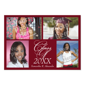 4-Photo Collage Burgundy Graduation/Party Personalized Announcements