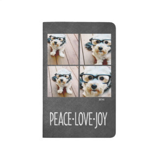 4 Photo Collage Chalkboard Holiday Peace Love Joy Journal