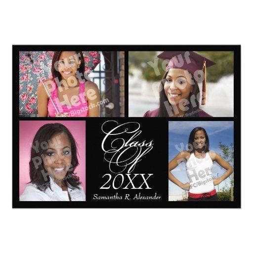 4-Photo Collage Custom Graduation Announcement