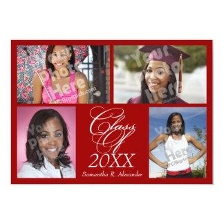 4-Photo Collage Dark Red Graduation Announcement