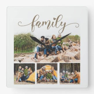 4 Photo Collage Family Heart White Square Wall Clock