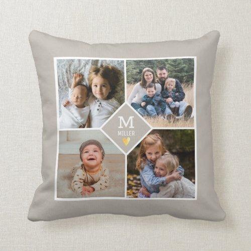 4 Photo Collage Family Monogram Beige Farmhouse Throw Pillow