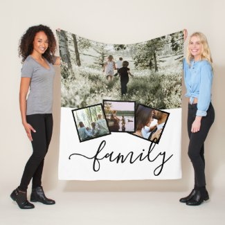 4 Photo Collage Family Personalized Fleece Blanket