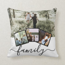 4 Photo Collage Family Personalized Throw Pillow
