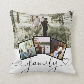 4 Photo Collage Family Typography Personalized Throw Pillow