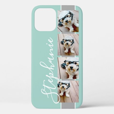 4 Photo Collage Film Strip Name - CAN edit COLOR iPhone 12 Case