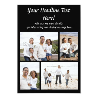 4-Photo Collage Flat Greeting Card or Invitation