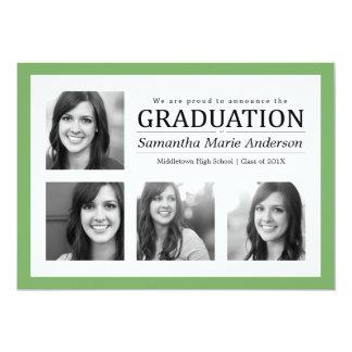 4 Photo Collage Graduation Invitation Green