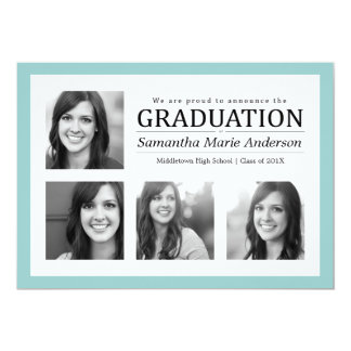 4 Photo Collage Graduation Invitation Mint