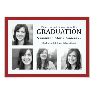4 Photo Collage Graduation Invitation Red