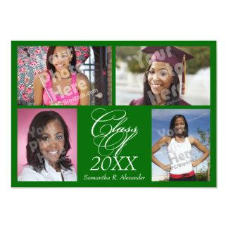 4-Photo Collage Green Graduation Announcement