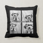"""4 Photo Collage Modern Square Layout Black Throw Pillow<br><div class=""""desc"""">Use cropped photos for the best results! Upload square photos from your phone or even Instagram to make a striking custom look for your home. You can use photos of friends or pets and then match your own decor by changing the color. Use color or black and white photos -...</div>"""