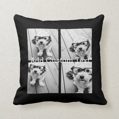 4 Photo Collage Modern Square Layout Black Throw Pillow