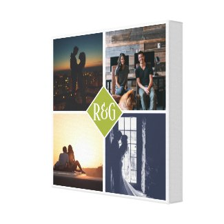4 Photo Collage Monogrammed Canvas Print