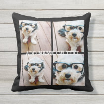 4 Photo Collage - PICK YOUR BACKGROUND COLOR Throw Pillow