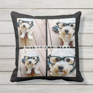 4 Photo Collage - Pick Your Background Color Throw Pillow at Zazzle