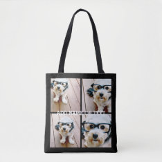 4 Photo Collage - Pick Your Background Color Tote Bag at Zazzle