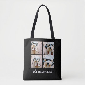 4 Photo Collage - PICK YOUR BACKGROUND COLOR Tote Bag