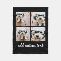 4 Photo Collage - you can change background color Fleece Blanket