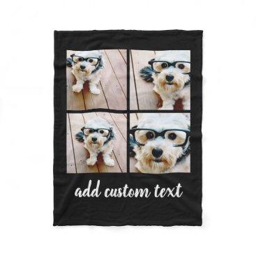 MarshEnterprises 4 Photo Collage - you can change background color Fleece Blanket