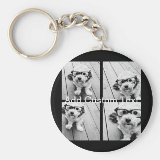 4 Photo Collage - you can change background color Keychain