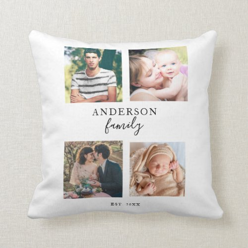 4 Photo Family Collage Hand Lettering Square Pics Throw Pillow