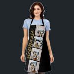 """4 Photo Film Strip Collage Script Name black Apron<br><div class=""""desc"""">Photo collage in a film strip layout with a huge modern script for the name. Use up to four square or selfie phone photos to create a unique and personal gift. Or you can keep the hipster puppy and make a trendy keepsake. For best results, use photos that have been...</div>"""